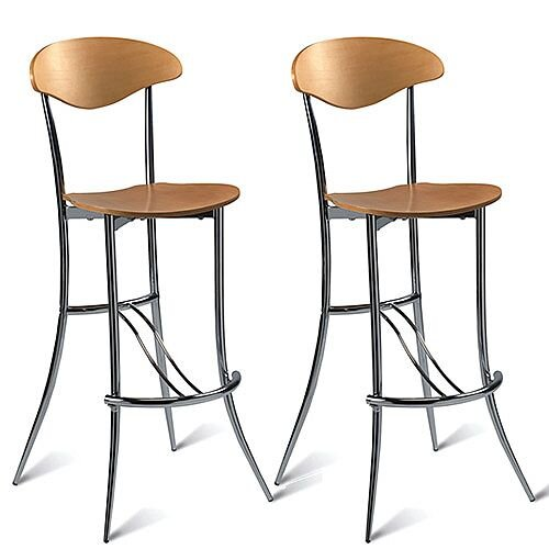 Milano Maple Bar Stool - Maple Veneer Naturally Polished Pack of 2