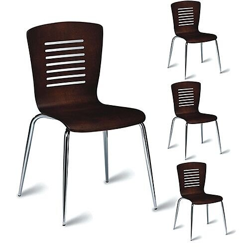 Verona Wenge Café Side Chair - Maple Veneer Polished Wenge Pack of 4