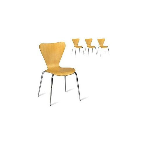 Torino Maple Veneer Polished Natural Side Café Chair Pack of 4