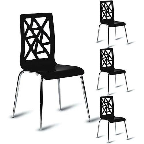 Ziggy High Gloss Black Café Side Chair Pack of 4
