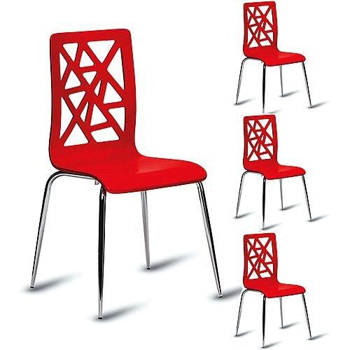 Ziggy High Gloss Red Café Side Chair Pack of 4