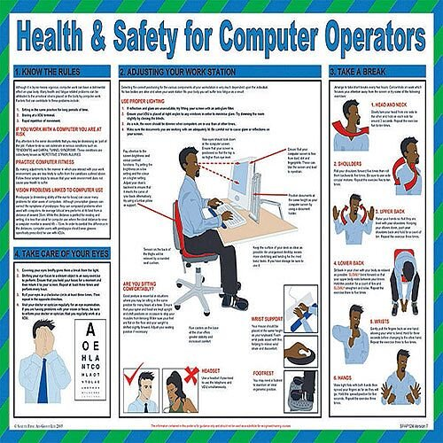 Health and Safety for Computer Operators Poster 420x590mm