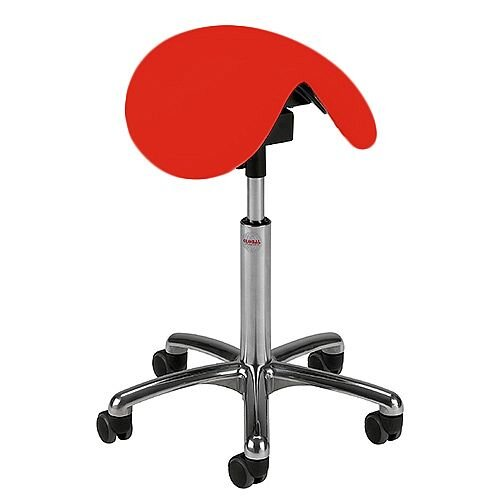 Pinto Easymek Seat Saddle Stool With Red Leather Look Seat Upholstery H570 -760mm