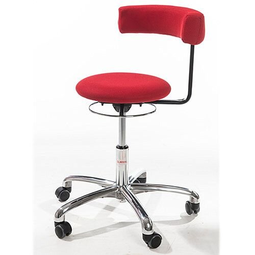 Saturn Ergonomic Stool With 360° Swivel Back-Arm Rest Imitation Leather Red H400 - 530mm