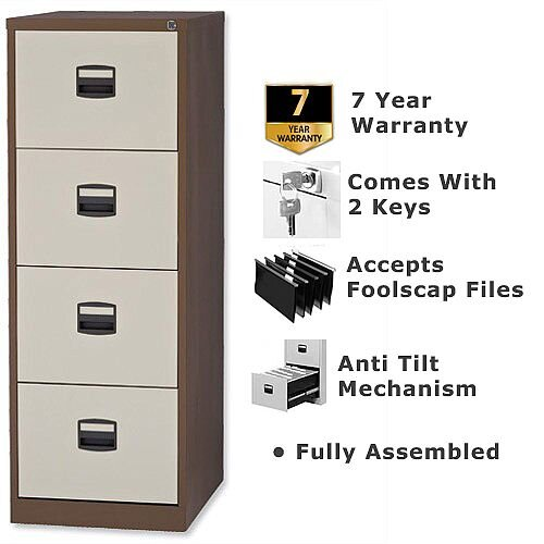 4 Drawer Steel Filing Cabinet Lockable Brown &Cream Trexus By Bisley