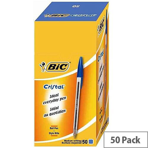 Bic Cristal Ballpoint Pen Blue Clear Barrel Pack 50