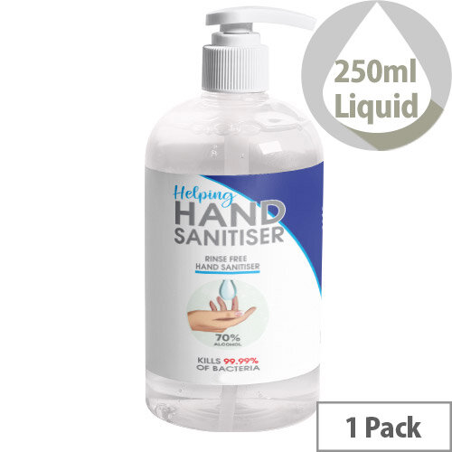250ml Pump Hand Sanitiser - 70% Alcohol Based Hand Sanitising Liquid Pack of 1