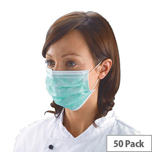 Shield Non-Woven 3-Ply Green Disposable Face Mask Pack of 50 DK01GL