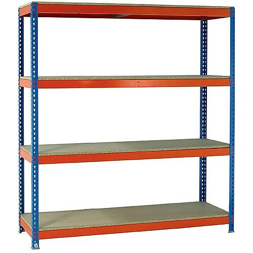 2.5m High Heavy Duty Boltless Chipboard Shelving Unit W2100xD750mm 400kg Shelf Capacity With 4 Shelves - 5 Year Warranty