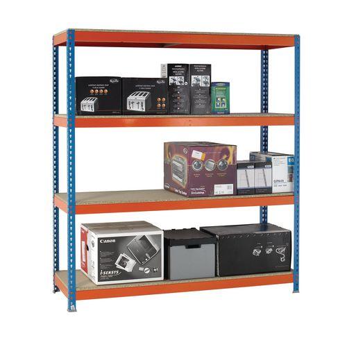 2m High Heavy Duty Boltless Chipboard Shelving Unit W2400xD600mm 500kg Shelf Capacity With 4 Shelves - 5 Year Warranty