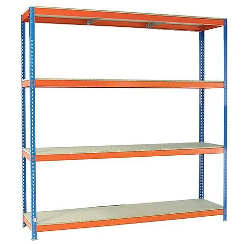 2.5m High Heavy Duty Boltless Chipboard Shelving Unit W2400xD750mm 400kg Shelf Capacity With 4 Shelves - 5 Year Warranty