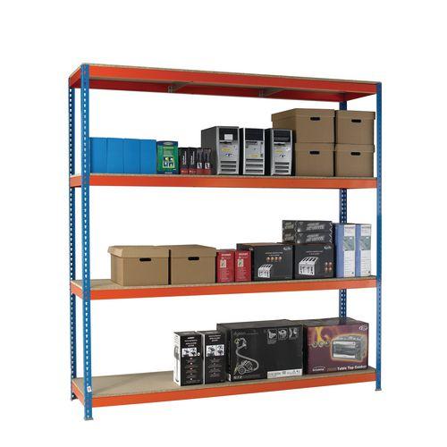 2.5m High Heavy Duty Boltless Chipboard Shelving Unit W2400xD900mm 400kg Shelf Capacity With 4 Shelves - 5 Year Warranty