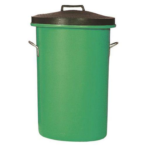 Heavyweight Cylindrical Dustbin Storage Bin/Lid/Handles 100L Green 311964