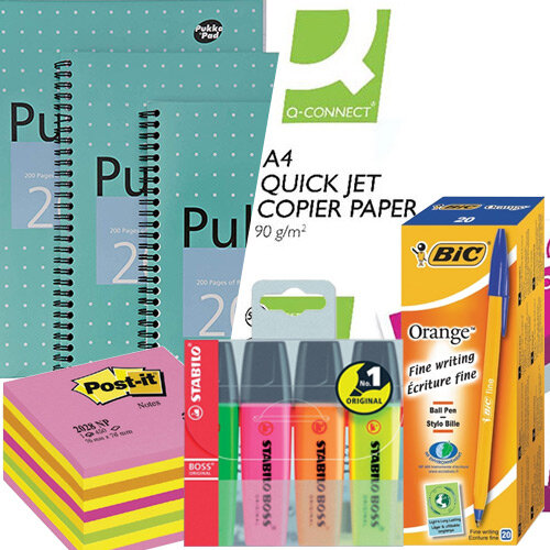 Home Office Essential Stationery Bundle -  Pens Pk 20 &Notepads Pk 3 &A4 Paper &Sticky Notes &Highlighters