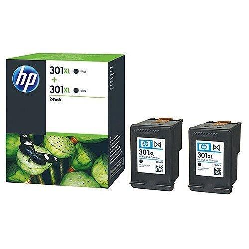 HP301XL Black Ink Cartridge Twin Pack Black D8J45AE