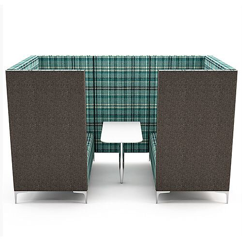 Meeting Pod HUDDLE CAVE With Grey Exterior &Green Tartan Fabric Interior
