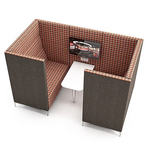 Meeting Pod HUDDLE CAVE With Grey Exterior &Red Checkered Fabric Interior