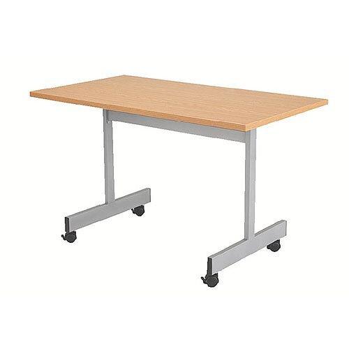 1200mm Wide Rectangular Flip Top Table On Castors Oak Jemini