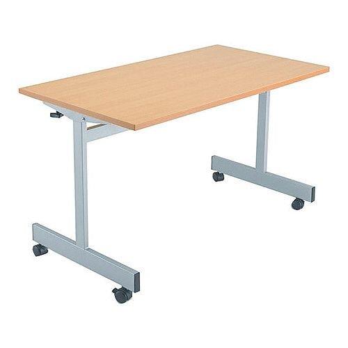 1600mm Wide Rectangular Flip Top Table On Castors Beech Jemini