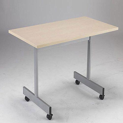 1600mm Wide Rectangular Flip Top Table On Castors Maple Jemini