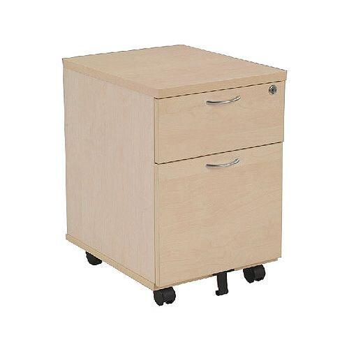 Jemini 2-Drawer Mobile Pedestal Maple KF72083