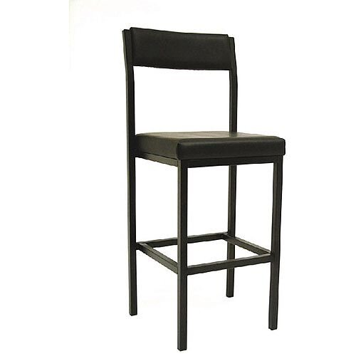 High Stool with Vinyl Upholstered Backrest and Seat W410xD410xH700mm Black