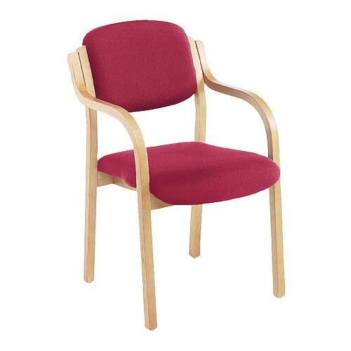 Jemini Wood Frame Reception Side Chair with Arms Claret KF03515