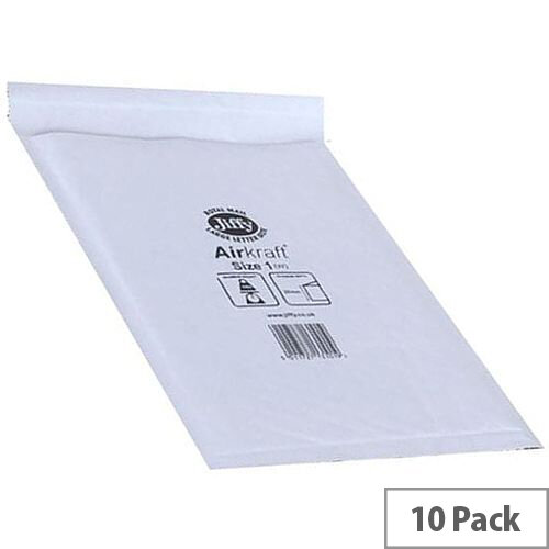 Jiffy Airkraft Size 3 Bubble Lined Mailer Bags White 205x320mm Pack of 10