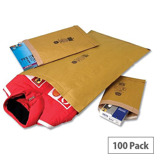 Jiffy Airkraft Size 00 Protective Envelopes Gold Bubble Lined 115x195mm Pack of 100