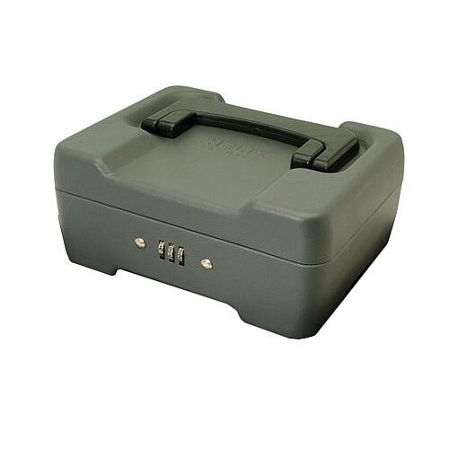 5 Star Combination Lock Cash Box Compact 8 Inch Metal 200mm Grey Mercury 3 Coin Compartments