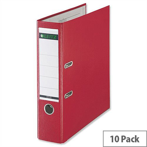 Leitz 180 Polypropylene A4 80mm Red Lever Arch File Pack of 10