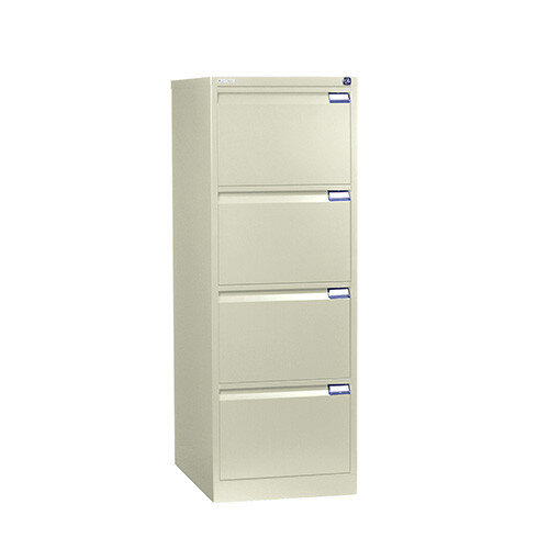 4 Drawer Steel Filing Cabinet Flush Front Beige Bisley BS4E