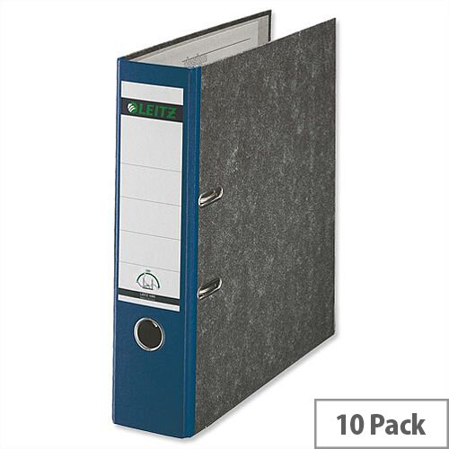 Leitz A4 Lever Arch File Blue 80mm Spine Pack of 10