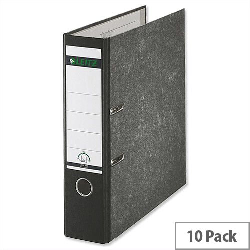 Leitz A4 Lever Arch File Black 80mm Spine Pack of 10