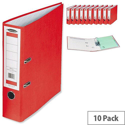 Concord Classic Lever Arch File Printed Lining Capacity 70mm A4 Red Pack of 10