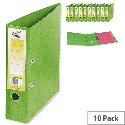 Concord Contrast Lever Arch File Laminated Capacity 65mm A4 Lime Pack of 10