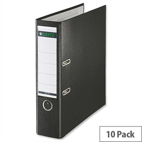 Leitz Foolscap Lever Arch File Black Pack 10