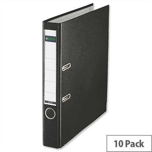 Leitz Black Mini Lever Arch File Plastic A4 Pack 10