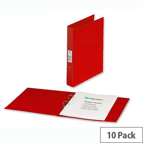 Rexel A4 Red Ring Binder 2 O-Ring 25mm Size Pack 10