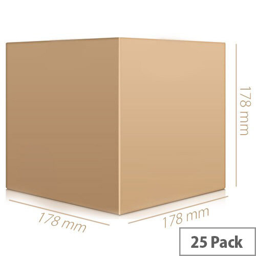 Single Wall 178x178x178mm Brown Corrugated Dispatch Packing Cardboard Boxes (Pack of 25)