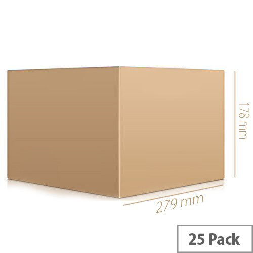 Packing Cardboard Boxes Single Wall Strong Flat Packed 279x279x178mm Pack of 25
