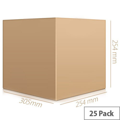 Single Wall Packing Cardboard Boxes 305x254x254mm Brown Corrugated Dispatch Cartons (Pack of 25)