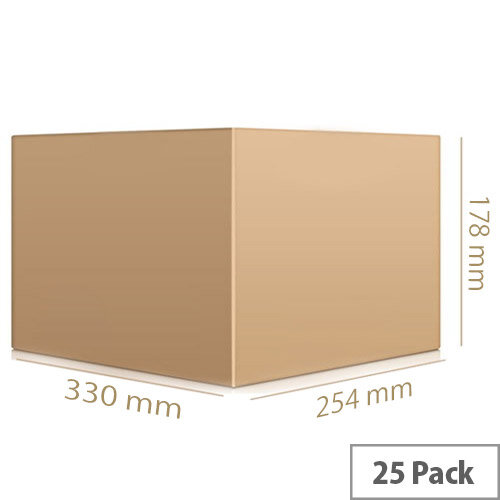 Single Wall 330x254x178mm Brown Corrugated Packing Cardboard Boxes (25 Pack) Ref SC-13