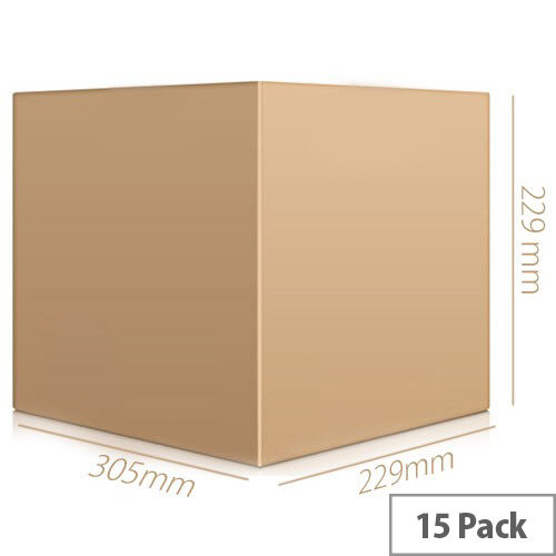 Cardboard Packing Box Double Wall Strong Flat-packed Internal Size 305x229x229mm Pack 15 Ambassador