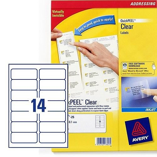 Avery 14 Per Sheet Clear Label (Pack of 350)