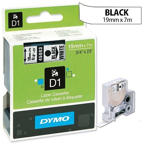 Dymo D1 Tape 45803 19mmx7m Black on White S0720830