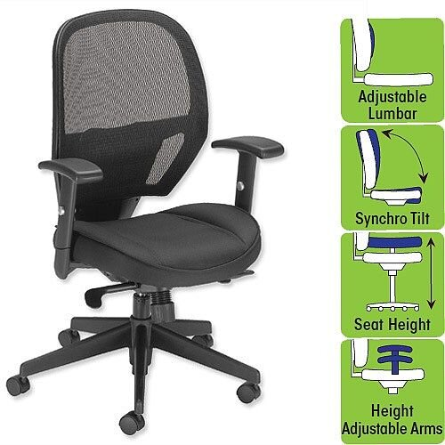 Influx Amaze Task Operator Office Chair Mesh Black - perfect for office or home office use - meets BS7176 Medium Hazard standard and comes with 5 years warranty
