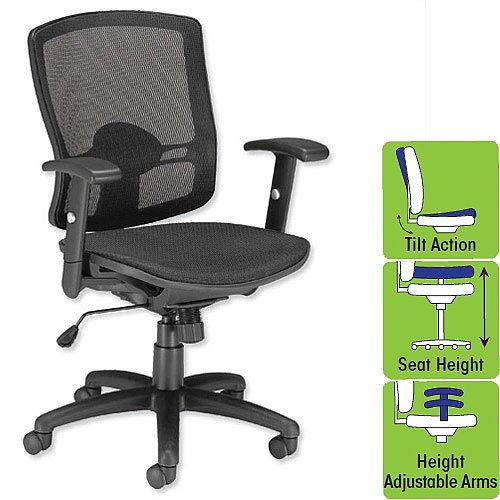 Influx All Mesh Task Chair Armchair Black