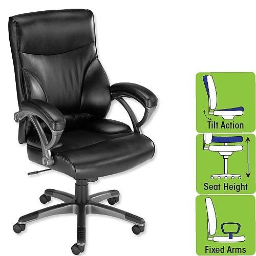 Executive Leather- Look Office Chair with Arms Black F5A Influx Breeze