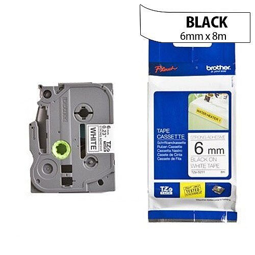 Brother TZ211 P-touch TZ Label Tape 6mm x 8m Black on White